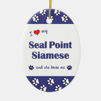 I Love My Seal Point Siamese (Female Cat) Double-Sided Oval Ceramic Christmas Ornament