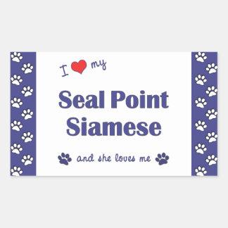 I Love My Seal Point Siamese (Female Cat) Rectangular Sticker