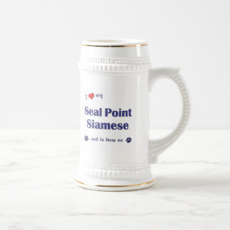 I Love My Seal Point Siamese (Male Cat) 18 Oz Beer Stein
