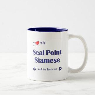 I Love My Seal Point Siamese (Male Cat) Two-Tone Coffee Mug