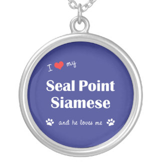 I Love My Seal Point Siamese (Male Cat) Round Pendant Necklace