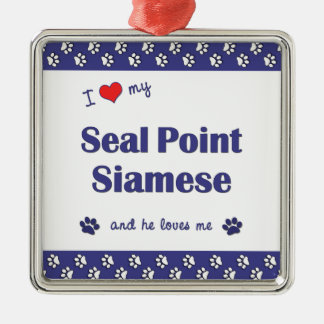 I Love My Seal Point Siamese (Male Cat) Square Metal Christmas Ornament