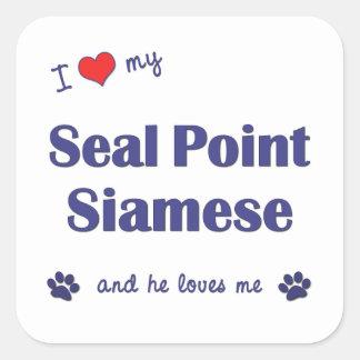 I Love My Seal Point Siamese (Male Cat) Square Sticker