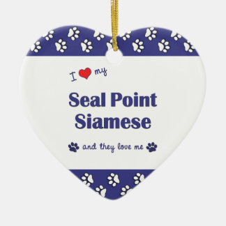 I Love My Seal Point Siamese (Multiple Cats) Double-Sided Heart Ceramic Christmas Ornament