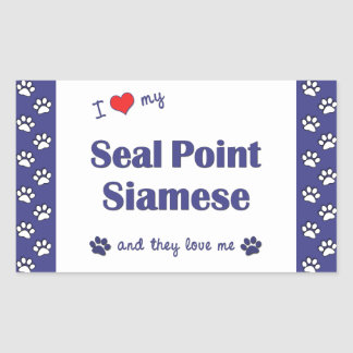I Love My Seal Point Siamese (Multiple Cats) Rectangular Sticker