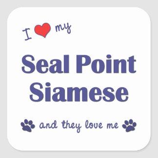 I Love My Seal Point Siamese (Multiple Cats) Square Sticker