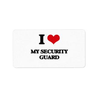 I Love My Security Guard Custom Address Labels