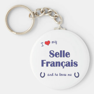 I Love My Selle Francais (Male Horse) Keychain