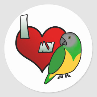 I Love my Senegal Parrot Round Stickers