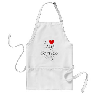 I Love My Service Dog Adult Apron