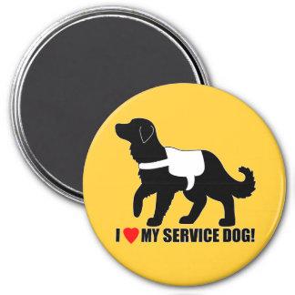 I Love My Service Dog Golden Retriever 3 Inch Round Magnet