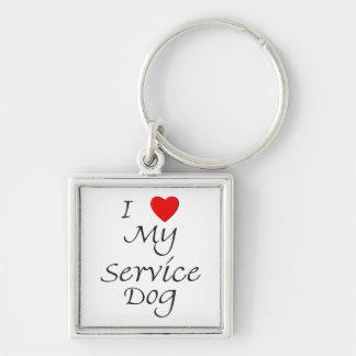 I Love My Service Dog Keychain