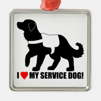 I Love My Service Dog! Metal Ornament