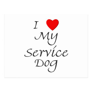 I Love My Service Dog Postcard