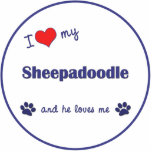 "I Love My Sheepadoodle (Male Dog) Statuette<br><div class=""desc"">Show the world how much you love your Sheepadoodle dog (and that the feeling is mutual!). With a heart and two pawprints, the words read &#39;I love my Sheepadoodle and he loves me&#39;. This design is specifically for a male dog (he), we also have variants available for a female dog...</div>"