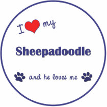 I Love My Sheepadoodle (Male Dog) Statuette