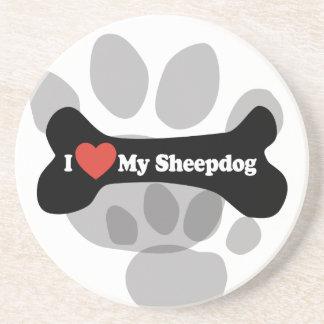 I Love My Sheepdog - Dog Bone Beverage Coaster