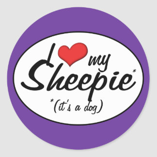 I Love My Sheepie (It's a Dog) Classic Round Sticker