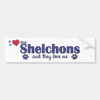 I Love My Shelchons (Multiple Dogs) Bumper Sticker