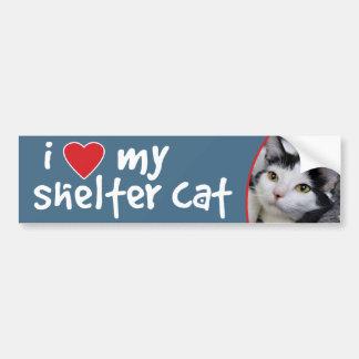I Love My Shelter Cat Black and White Bumper Sticker