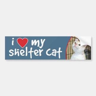I Love My Shelter Cat Bumper Sticker - All-White