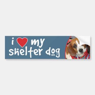 I Love My Shelter Dog Beagle Bumper Sticker
