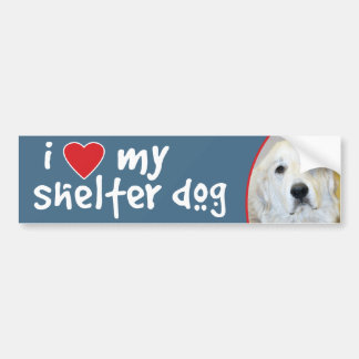 I Love My Shelter Dog Great Pyrenees Bumper Sticker