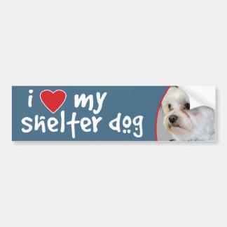 I Love My Shelter Dog Maltese Bumper Sticker