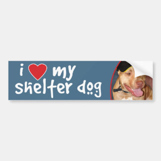 I Love My Shelter Dog Pitbull Bumper Sticker