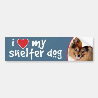 I Love My Shelter Dog Pomeranian Bumper Sticker