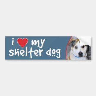 I Love My Shelter Dog Yellow Lab-Pitbull Car Bumper Sticker