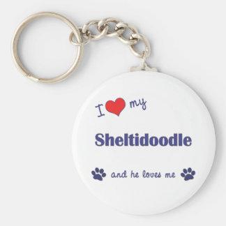 I Love My Sheltidoodle (Male Dog) Keychain