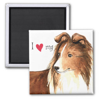 I Love my Sheltie 2 Inch Square Magnet
