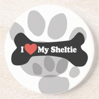 I Love My Sheltie - Dog Bone Coaster