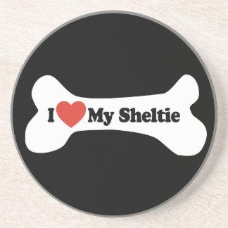I Love My Sheltie - Dog Bone Coasters