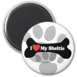 I Love My Sheltie - Dog Bone Magnets
