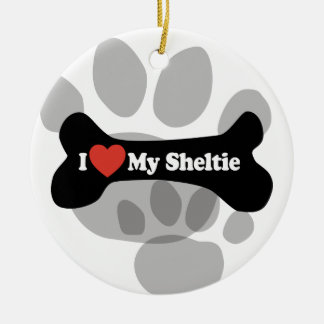 I Love My Sheltie - Dog Bone Double-Sided Ceramic Round Christmas Ornament