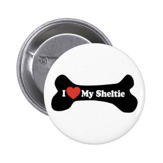 I Love My Sheltie - Dog Bone Pinback Button