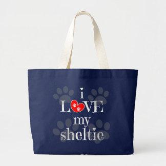 i LOVE my sheltie, paw prints/red Jumbo Tote Bag