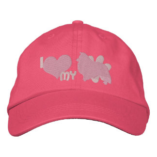 I Love my Sheltie Pink Embroidered Baseball Cap