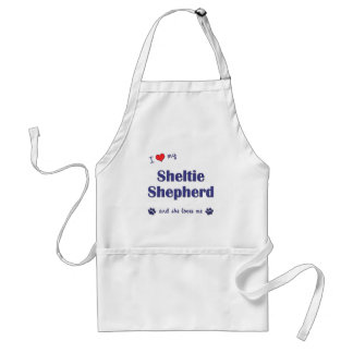 I Love My Sheltie Shepherd (Female Dog) Adult Apron