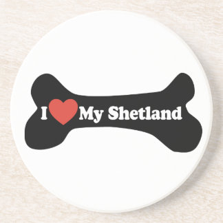 I Love My Shetland - Dog Bone Drink Coasters