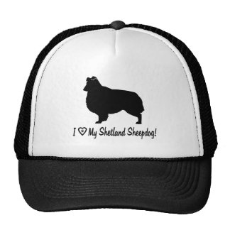 I Love My Shetland Sheepdog with Paw in Heart Trucker Hat