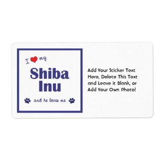 I Love My Shiba Inu (Male Dog) Label