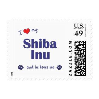 I Love My Shiba Inu (Male Dog) Postage Stamps