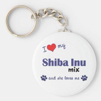 I Love My Shiba Inu Mix (Female Dog) Basic Round Button Keychain