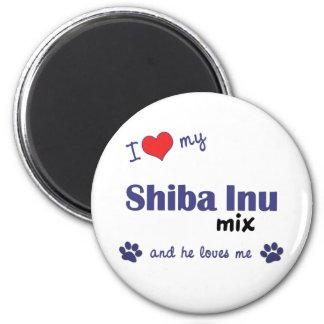I Love My Shiba Inu Mix (Male Dog) 2 Inch Round Magnet