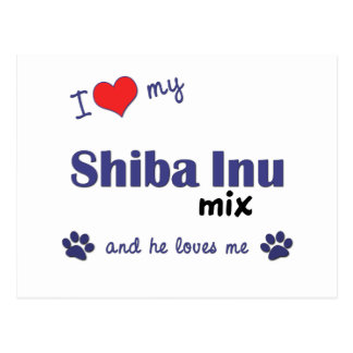 I Love My Shiba Inu Mix (Male Dog) Postcard