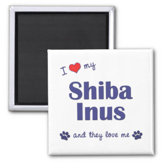 I Love My Shiba Inus (Multiple Dogs) 2 Inch Square Magnet