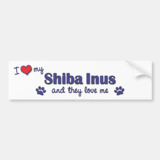 I Love My Shiba Inus (Multiple Dogs) Car Bumper Sticker